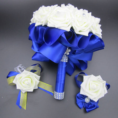 3pc Set Bouquet and Wrist Corsage and Boutonniere Blue