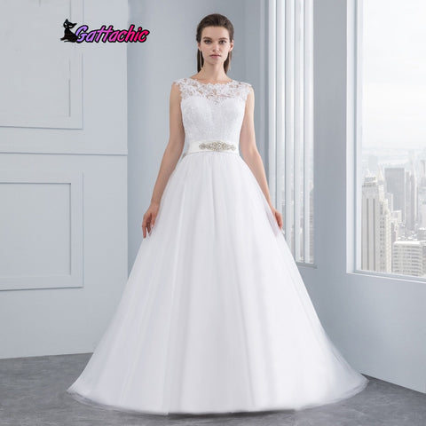 New Lace Wedding Dresses Satin Backless
