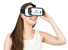 Image of a woman using the IrisVision wearable magnification unit