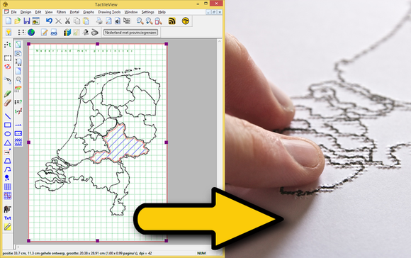 Image of a Map Drawing being converted into a tactile Graphic