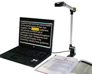 Picture of Pearl Document Reader, Laptop (not included) running OpenBook software