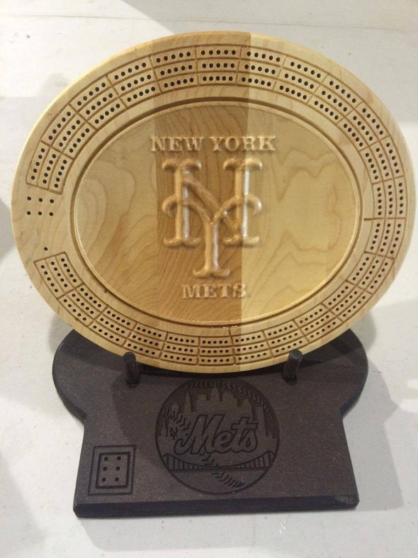 3D New York Mets Cribbage Board - Display Stand Optional. - Laser's Edge Design RD
