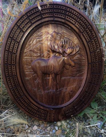 3D Walnut Moose Cribbage Board