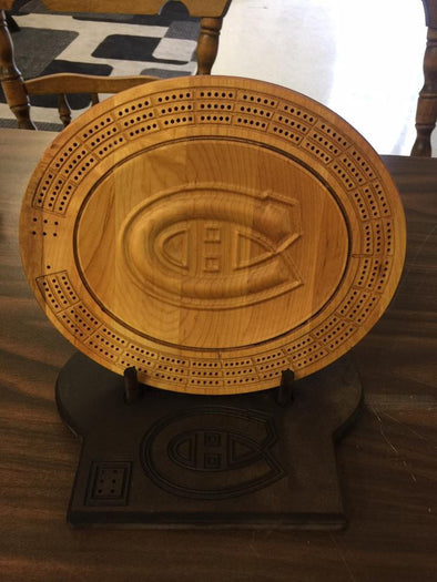 Montreal Canadians 3D Cribbage Board - Display Stand Optional. - Laser's Edge Design RD