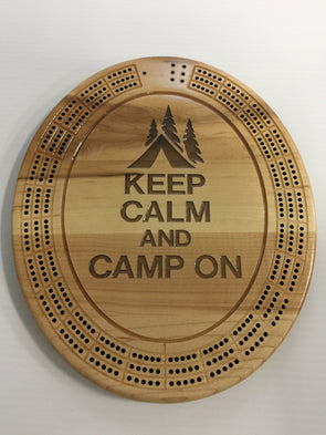 Keep Calm and Camp on Cribbage Board - Laser's Edge Design RD