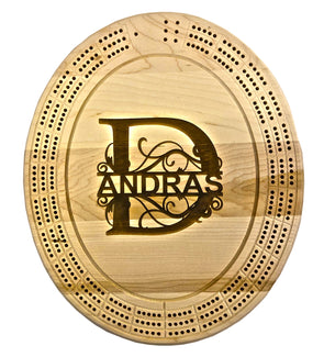 Engraved Monogram Cribbage Board - Laser's Edge Design RD