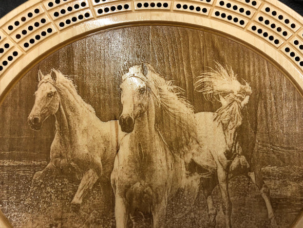 Horses Cribbage Board