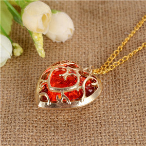 The Legend of Zelda Red Heart Crystal Gold neckless