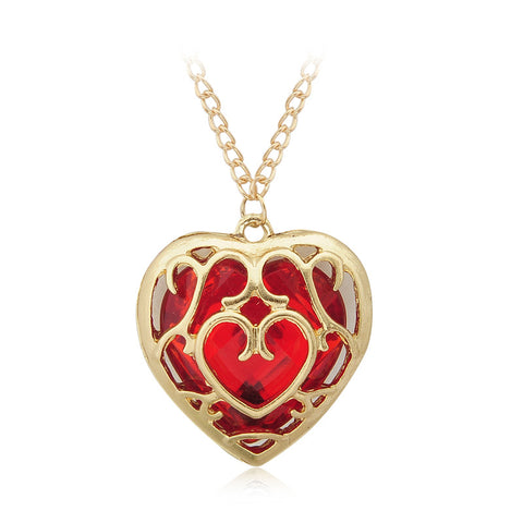 The Legend of Zelda Red Heart Crystal Gold neckless Free