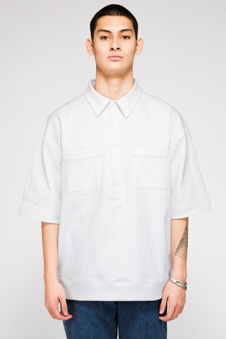 LEAGUE SHORT SLEEVE HENLEY IN WHITE