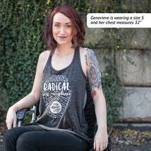 Radical Self-Acceptance Twist-Back Tank - heathered gray tank with white ink