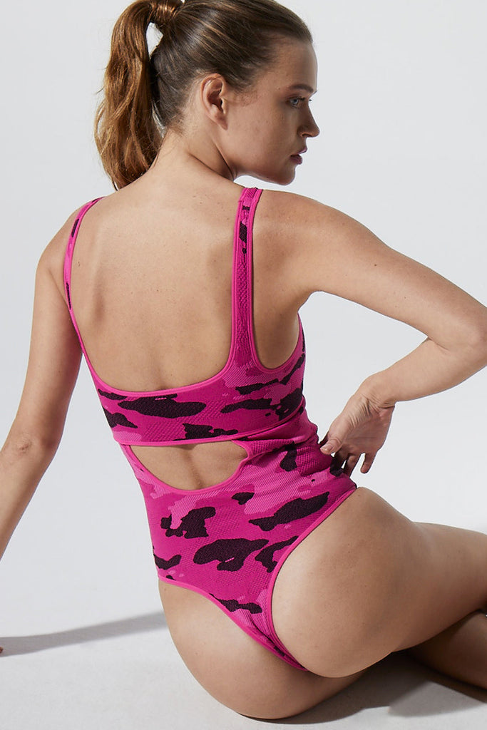 Camo Cut Out Bodysuit in Beetroot Fuchsia