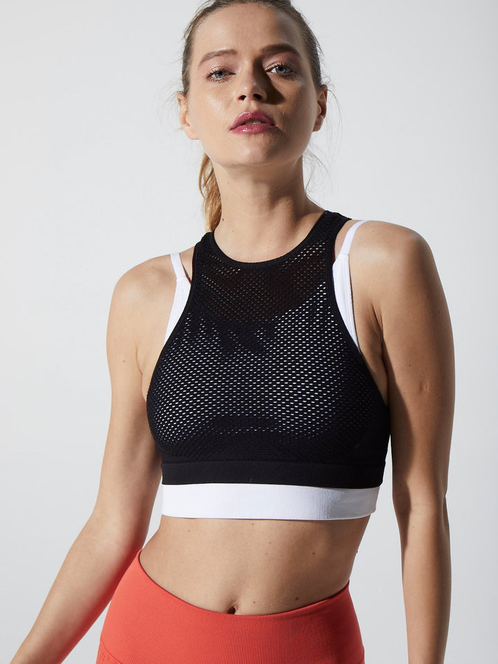 Mikaela Mesh Double Layer Bra in Black & White