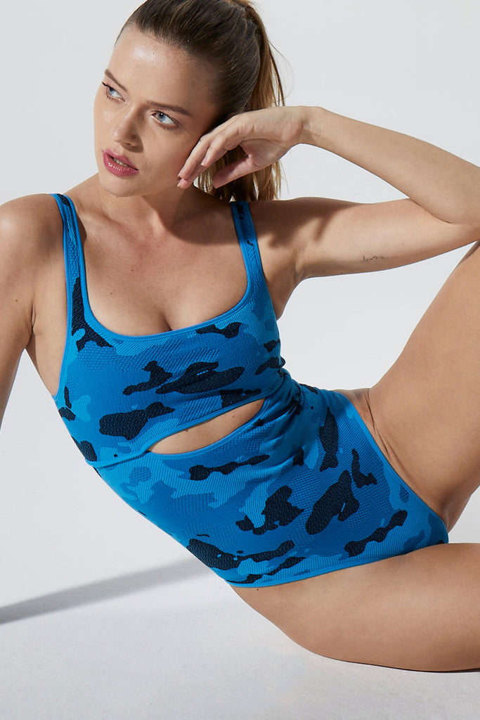Camo Cut Out Bodysuit in Blue Aster