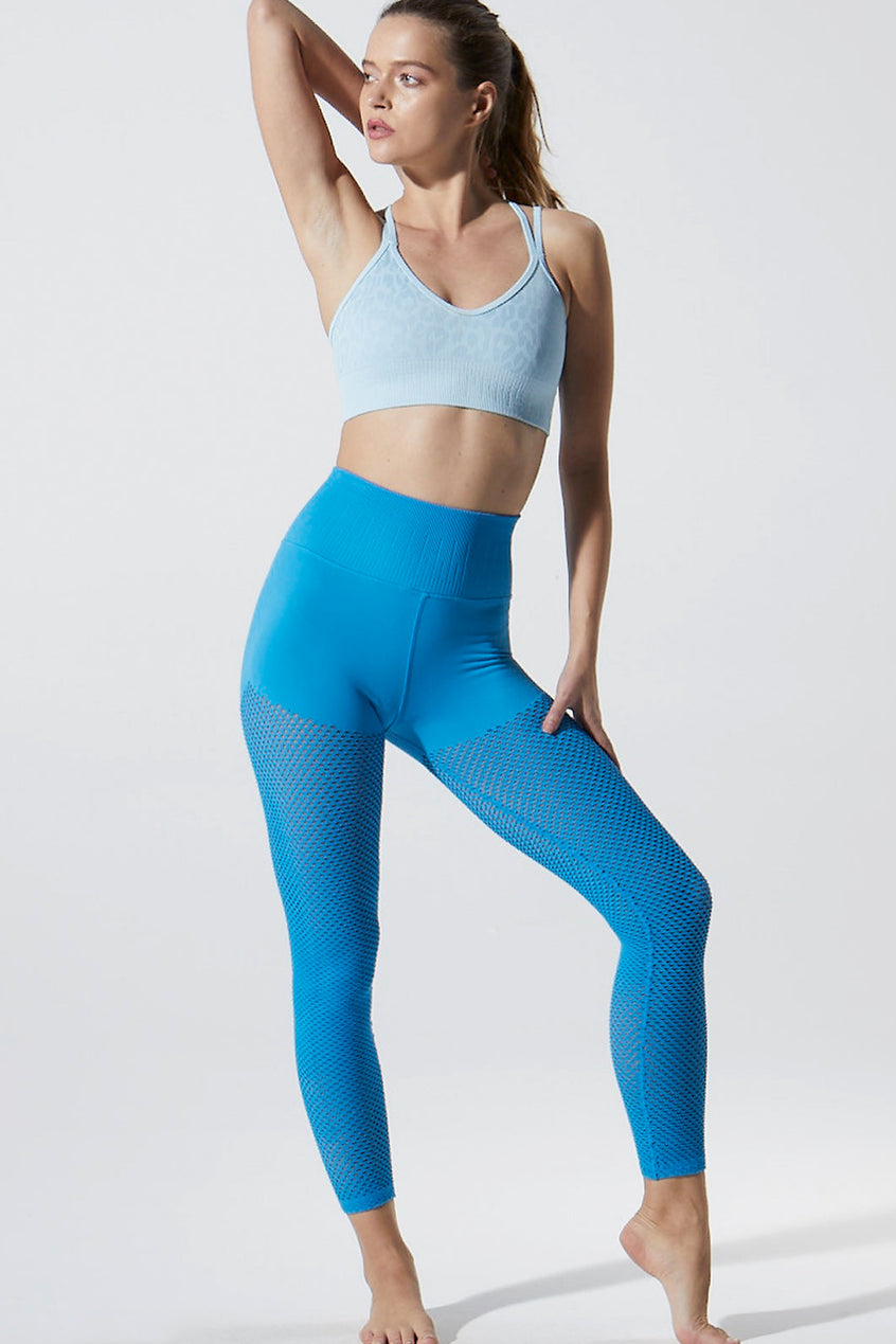 Melissa Mesh 7/8 Legging in Blue Aster