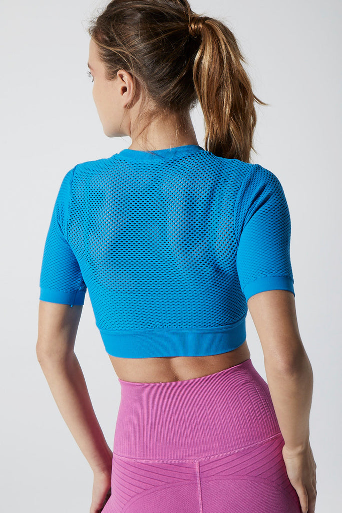 Melissa Overlay Mesh Crop in Blue Aster & Mermaid Green
