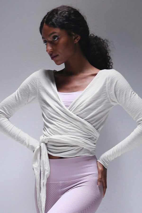Brenda Wrap Top in Chalk