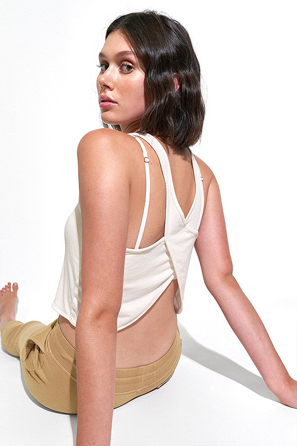Cassie Crossback Tank in White Sand