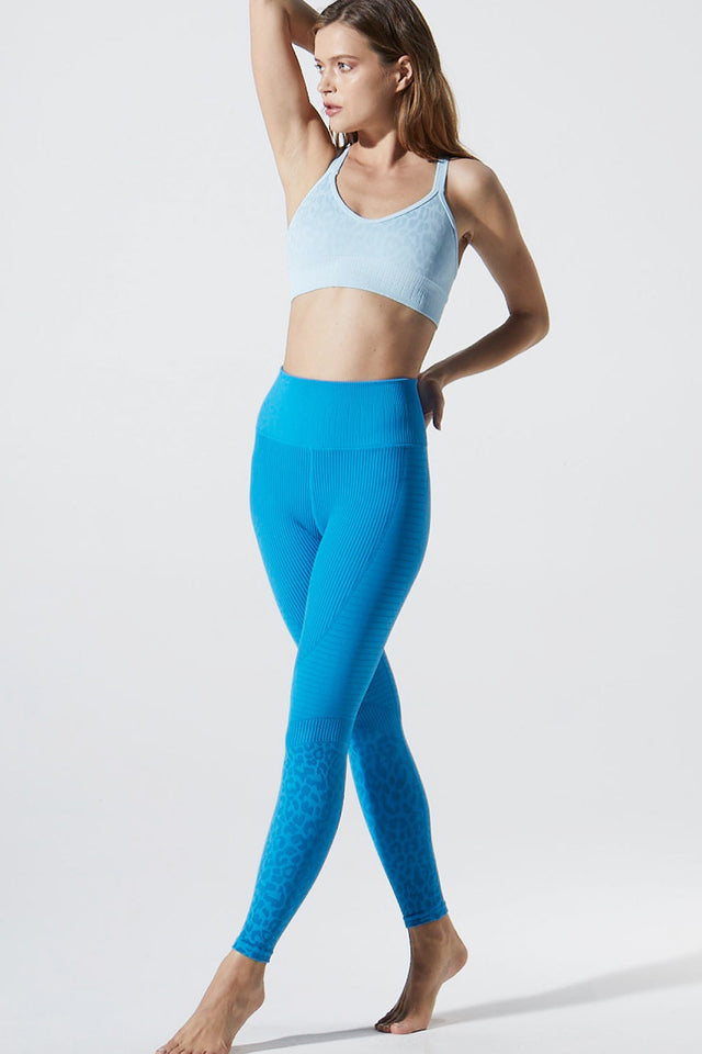 Leopard Moto Legging in Blue Aster