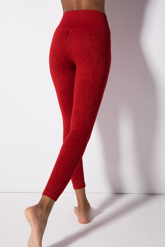 Polished Python Legging in Crimson