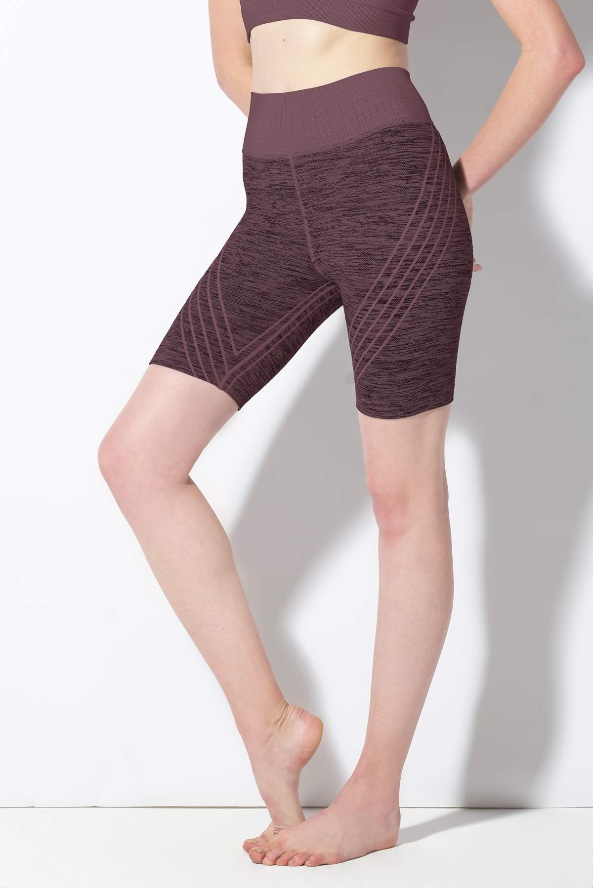 Danielle Striped Biker Short in Huckleberry
