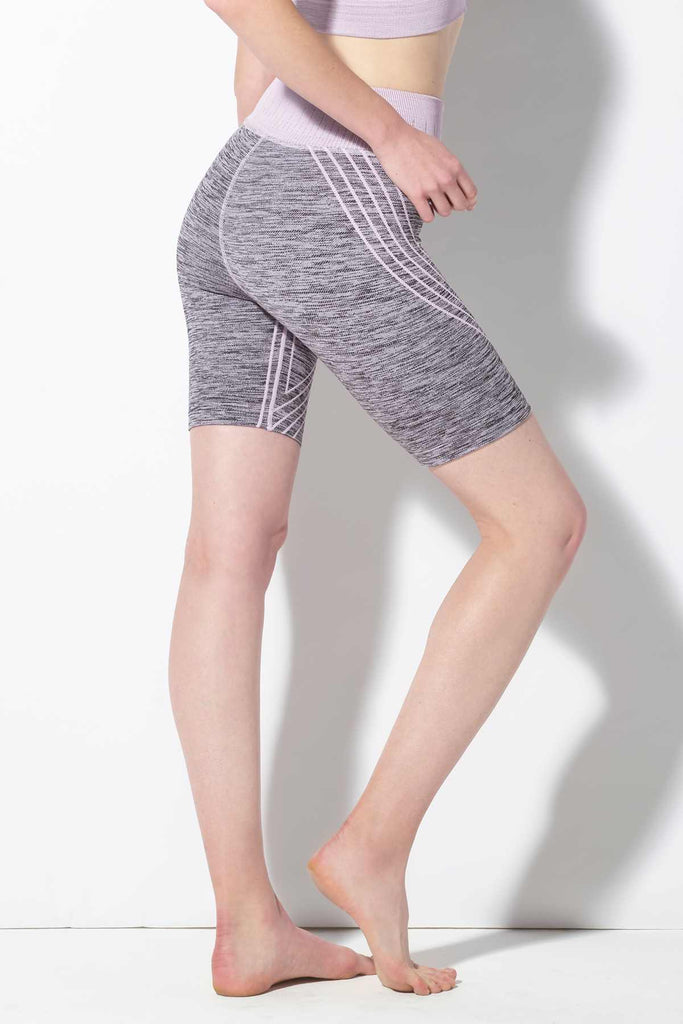 Danielle Striped Biker Short in Lavender Frost