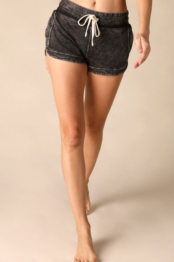 Delia Drawstring Dolphin Short in Vintage Black