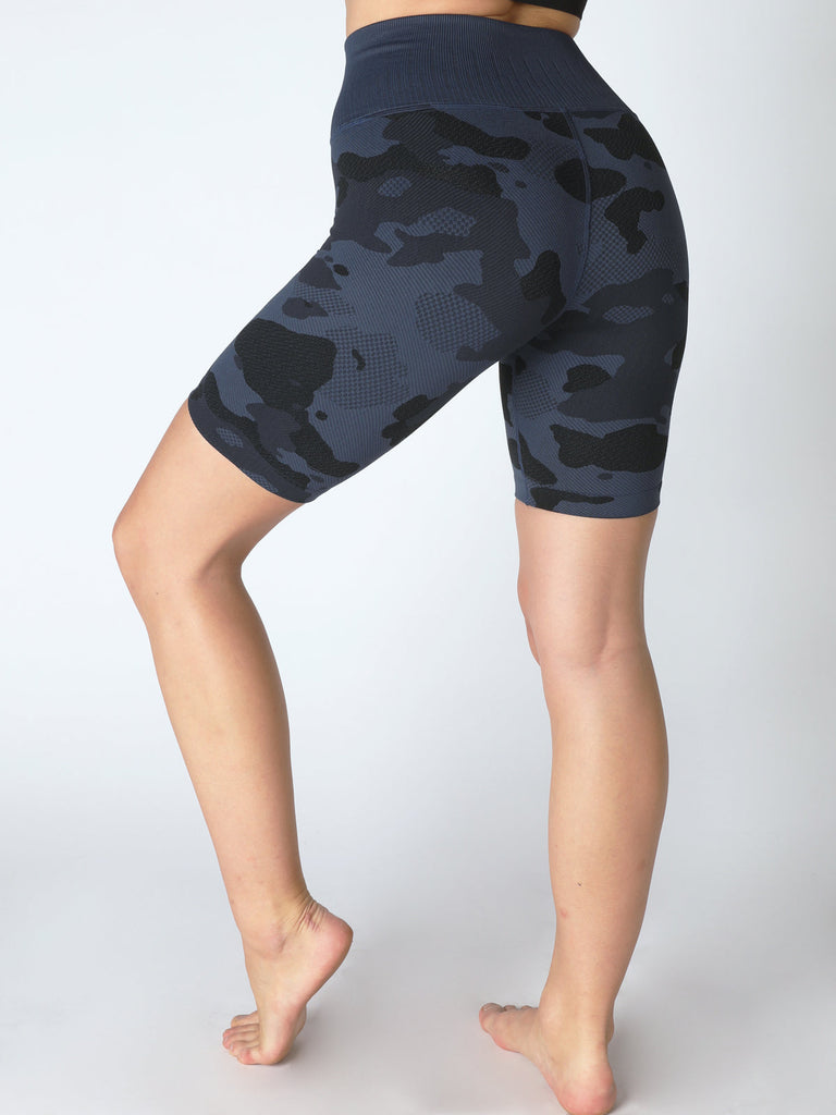 Camo Biker Short in Denim