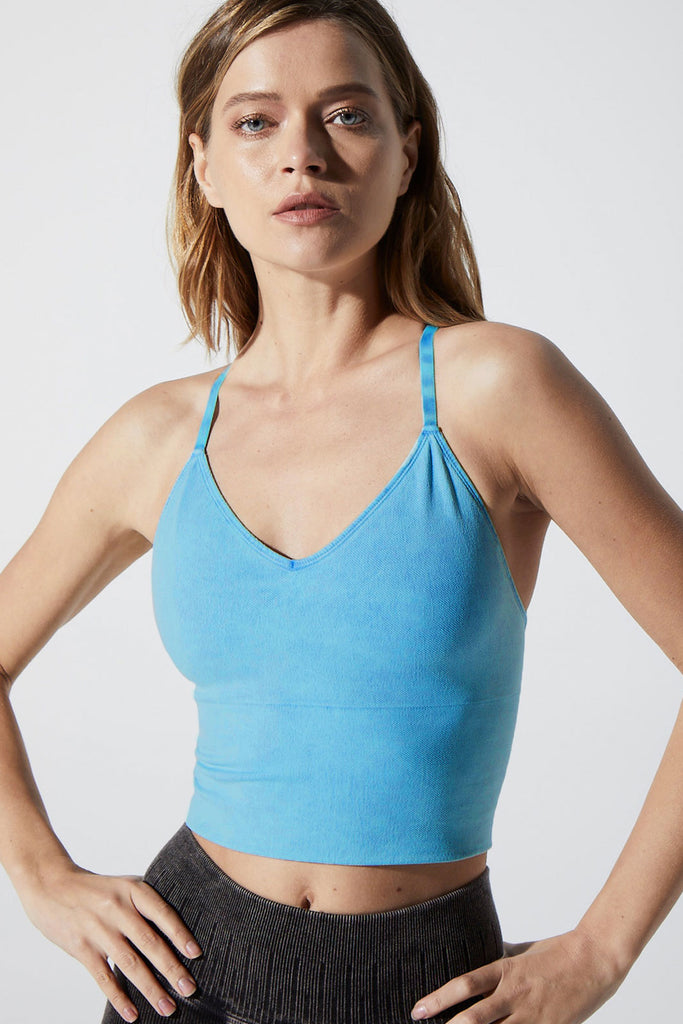 Stella Strappy Back Bra in Vintage Teal