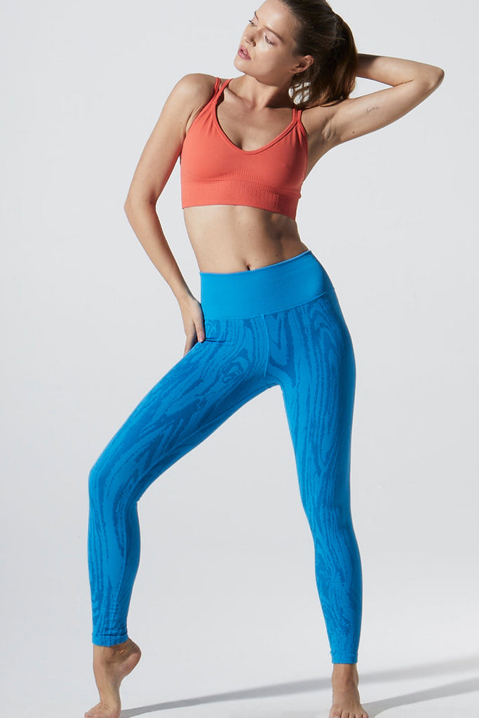 Wood Grain Legging in Blue Aster