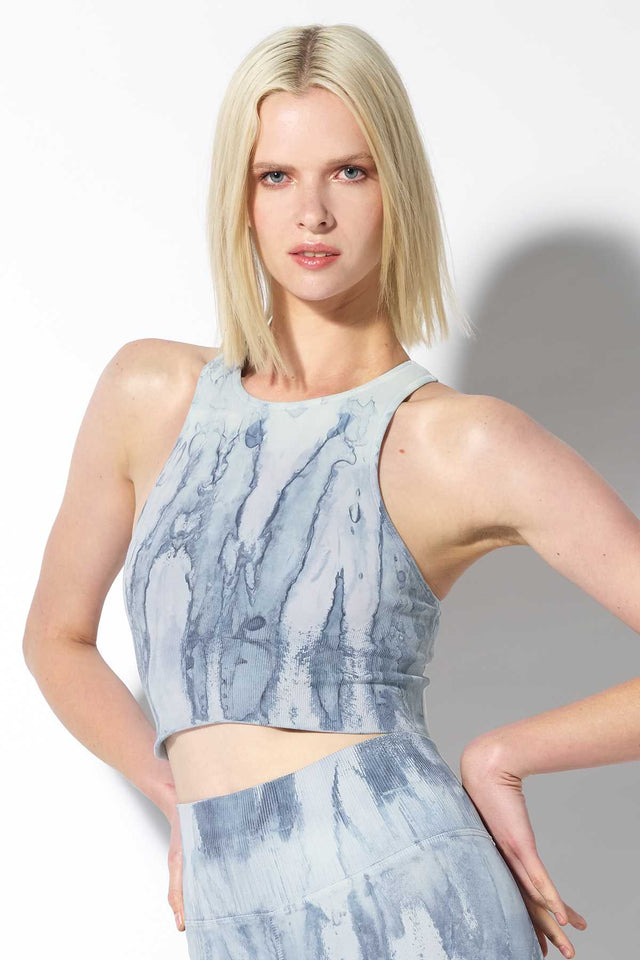 Crystal Gaia Crop Bra in Blue Agate Wash