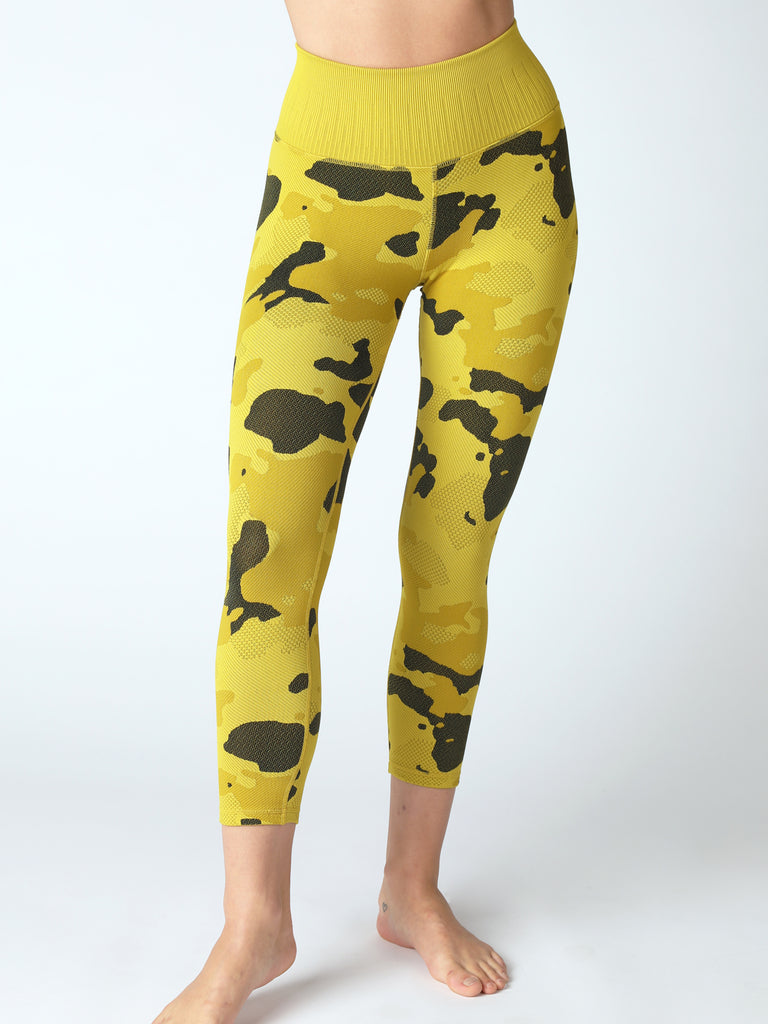 Camo Capri Legging in Golden Palm