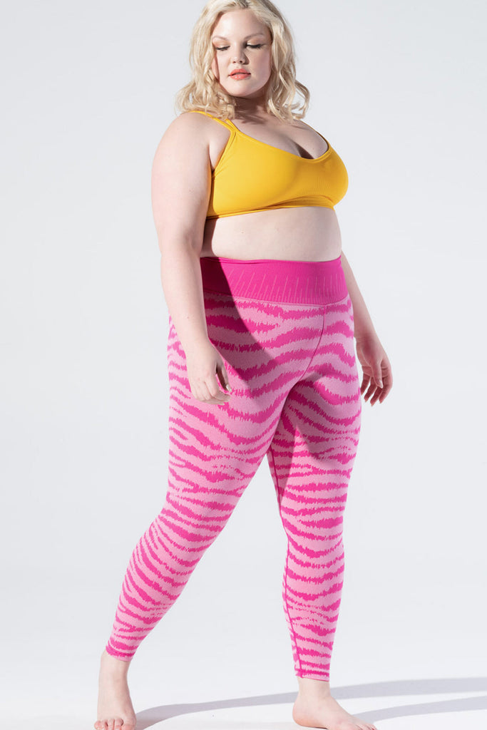 Ikat Zebra Legging in Beetroot Fuchsia