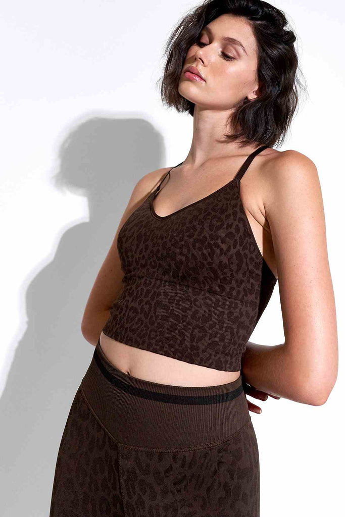 Leo Strappy Crop Bra in Chocolate Plum