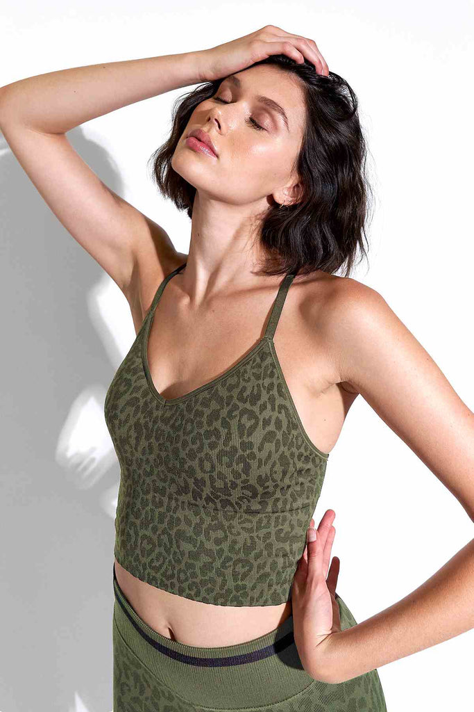 Leo Strappy Crop Bra in Grape Leaf