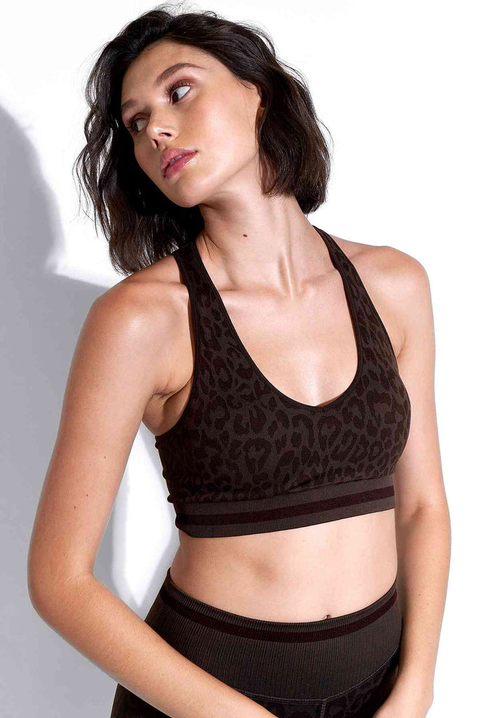 Leo Stripe Deep V Bra in Chocolate Plum