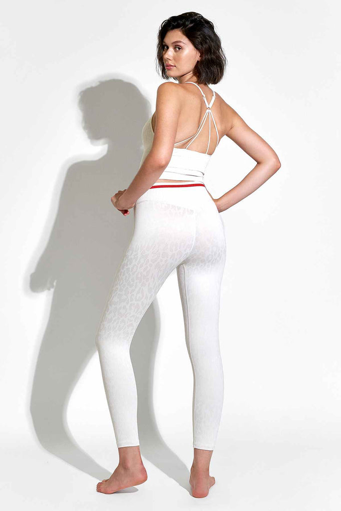 Leo Stripe V-Back 7/8 Legging in White Sand