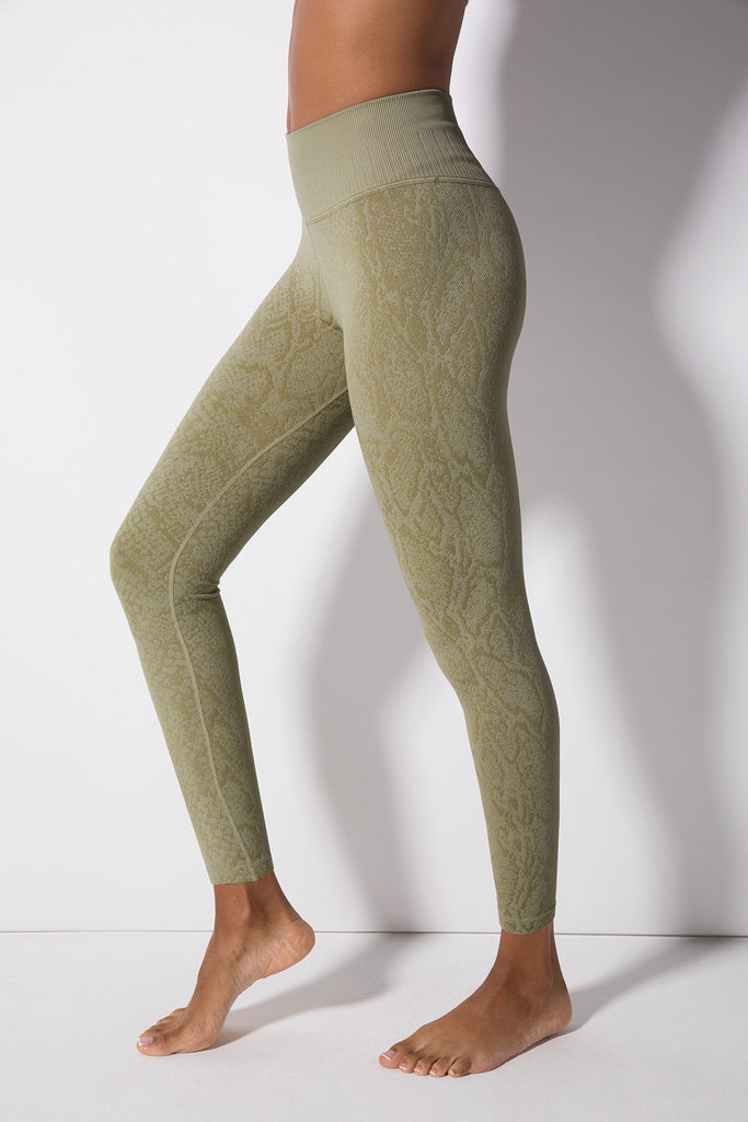 Polished Python Legging in London Fog