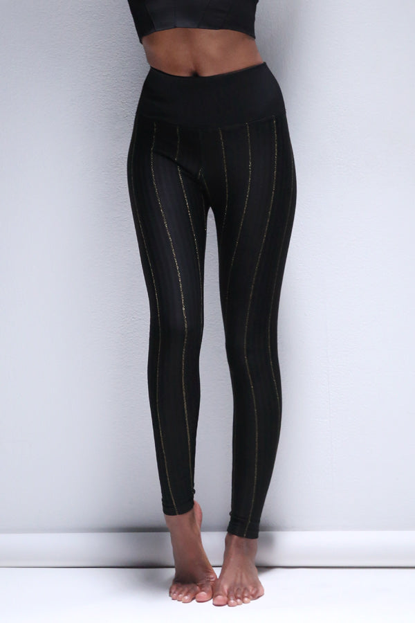Lurex Pinstripe Legging in Black
