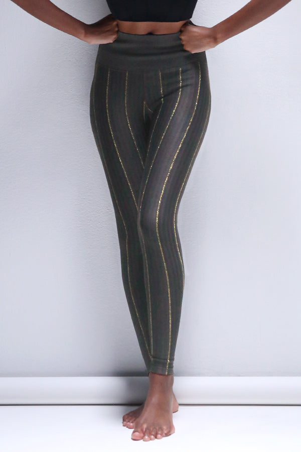 Lurex Pinstripe Legging in Shale