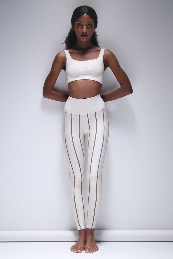 Lurex Pinstripe Legging in White Sand