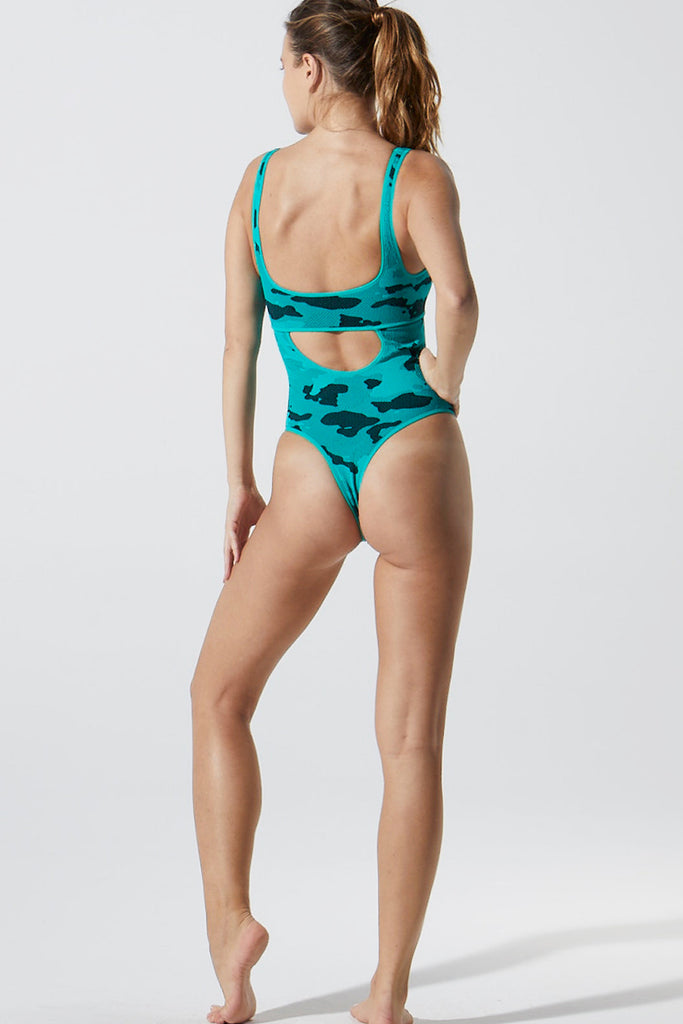 Camo Cut Out Bodysuit in Mermaid Green