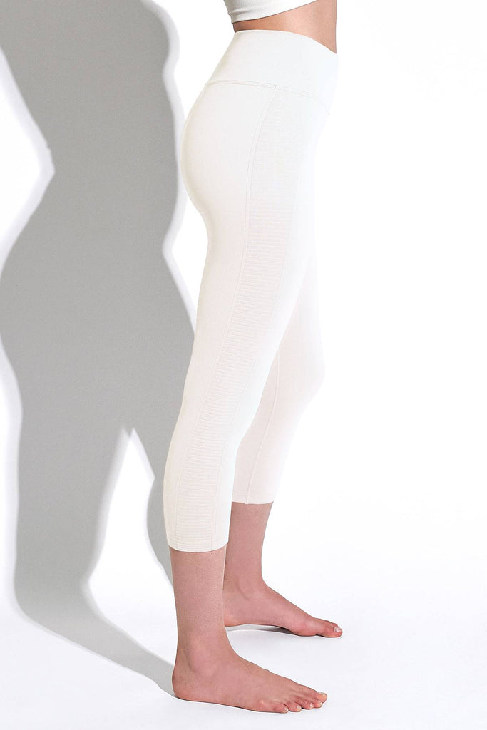 Mid Rise Air Capri in White Sand
