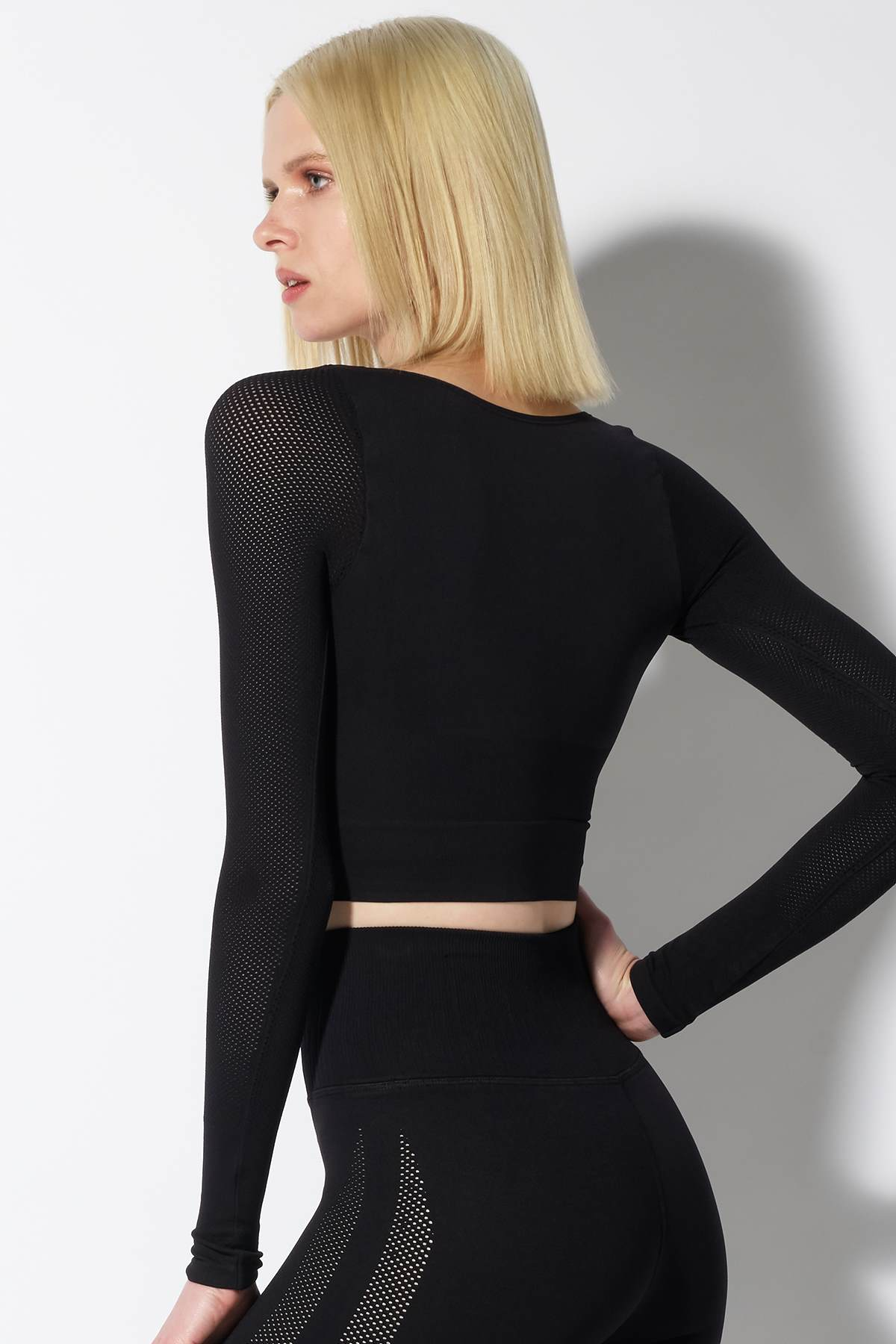 Mila Mesh Sleeve Crop Top in Black