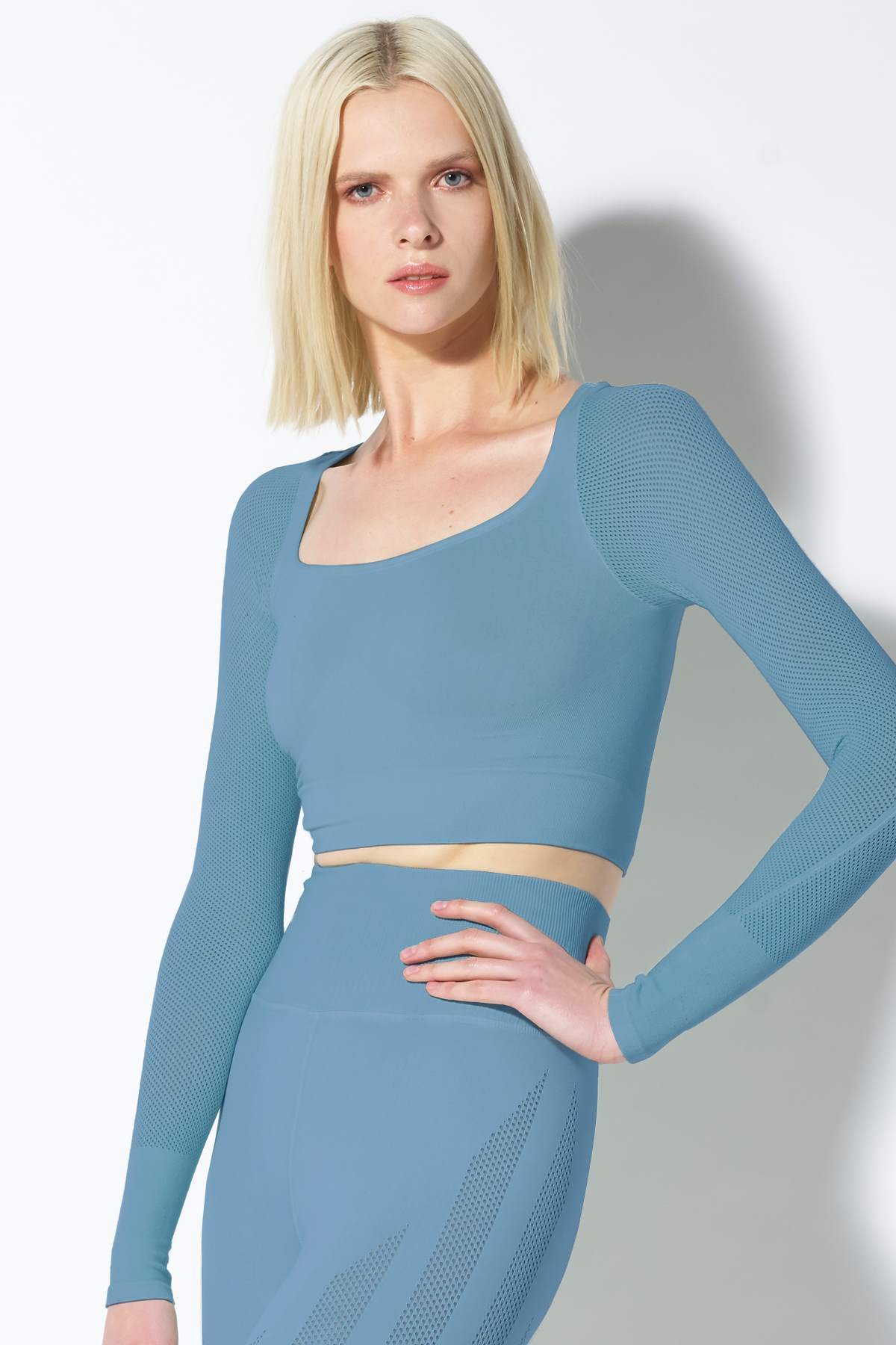 Mila Mesh Sleeve Crop Top in Niagra