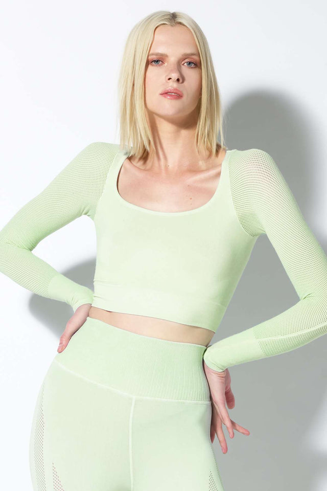 Mila Mesh Sleeve Crop Top in Mist Mint