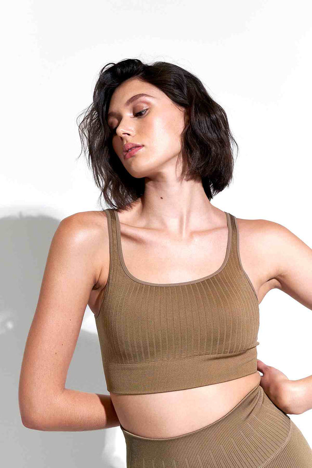 Odelia Scoop Neck Bra in Pine Bark