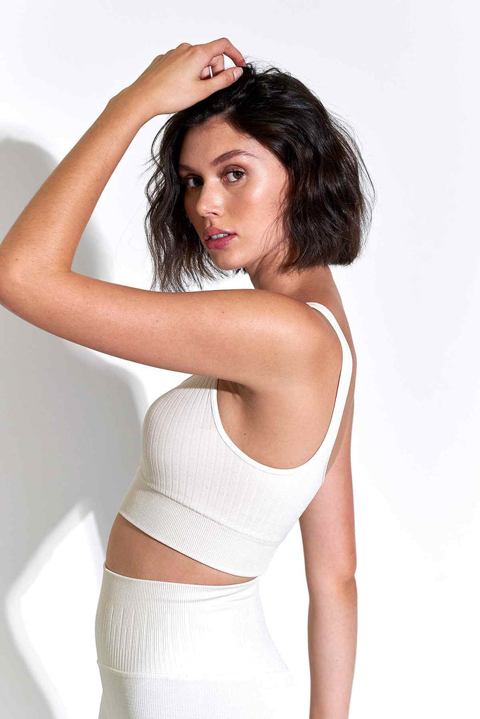 Odelia Scoop Neck Bra in White Sand