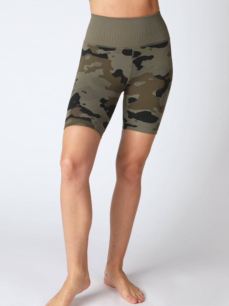 Camo Biker Short in Olive Night