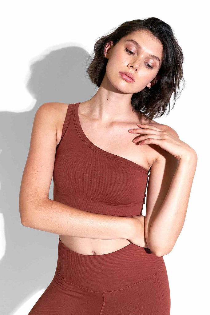 Onita One Shoulder Bra in Fired Brick